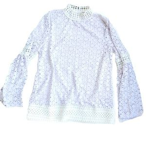 Eyelet Lace Bell Sleeve Blouse